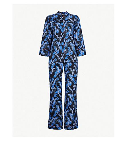 YOLKE午夜棕榈棉质睡衣套装 (棕榈午夜
