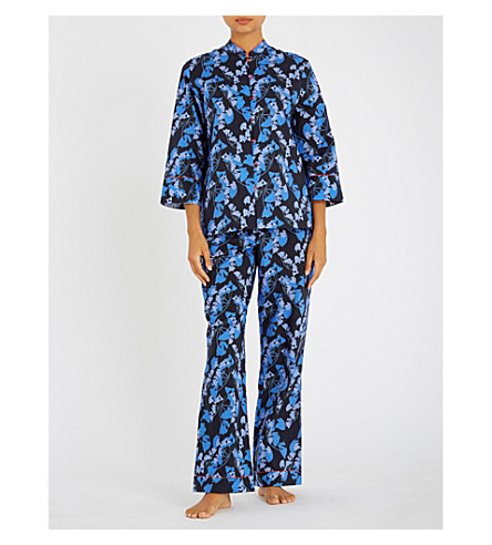 YOLKE Midnight Palm cotton pyjama set (Palm+midnight