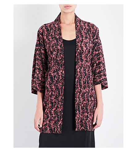 KISSHOTEN Abstract-pattern silk kimono robe (Pink+ivy