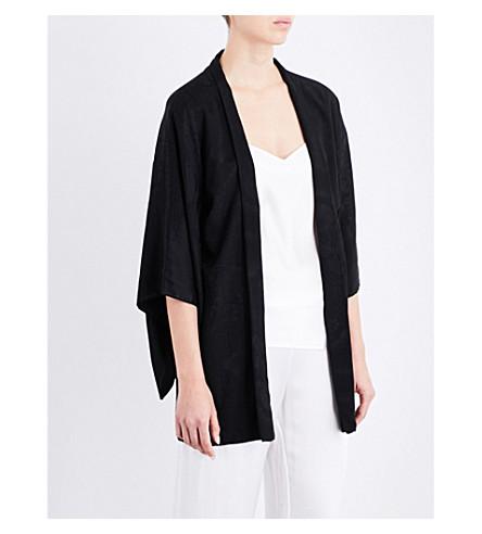KISSHOTEN Black Beauty silk-jacquard kimono robe (Black+beauty