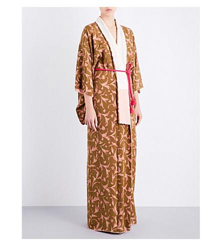 KISSHOTEN Pink Lily silk-crepe kimono robe (Pink+lily