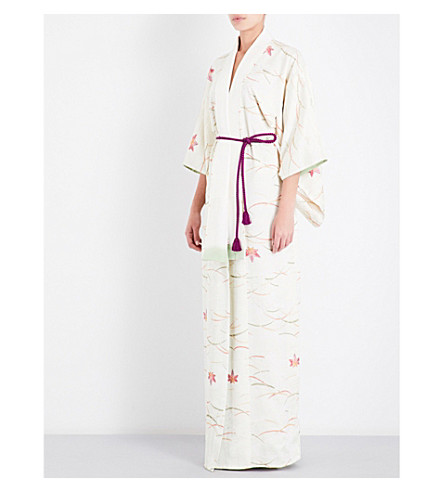 KISSHOTEN Weeping Maple patterned silk-brocade kimono robe (Weeping+maple