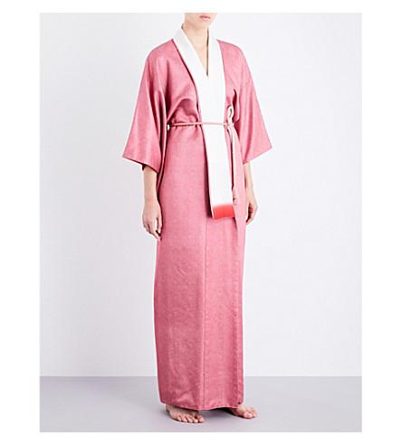 KISSHOTEN Pink silk-satin kimono robe (Pink+satin