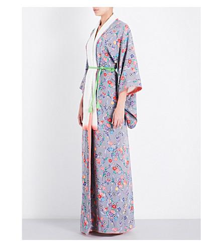 KISSHOTEN Rainbow butterflies floral-print silk kimono robe (Rainbow+butterflies
