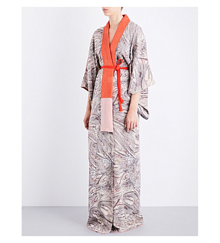 KISSHOTEN Seashells silk kimono robe (Sea+shells