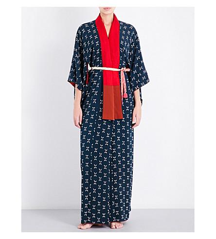 KISSHOTEN Floral cross-pattern silk kimono robe (Pink+crosses