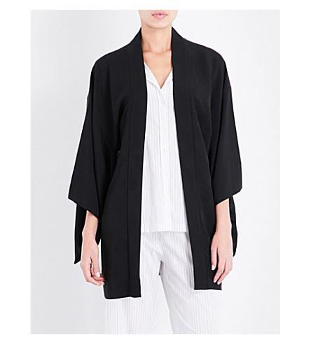 KISSHOTEN Floral-jacquard silk kimono robe (Black+flowers