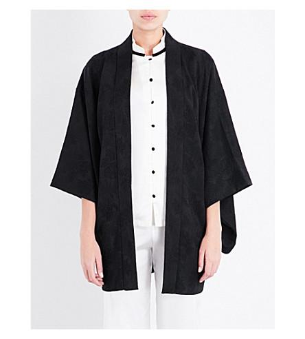KISSHOTEN Fern jacquard=patterned silk kimono robe (Black+fern