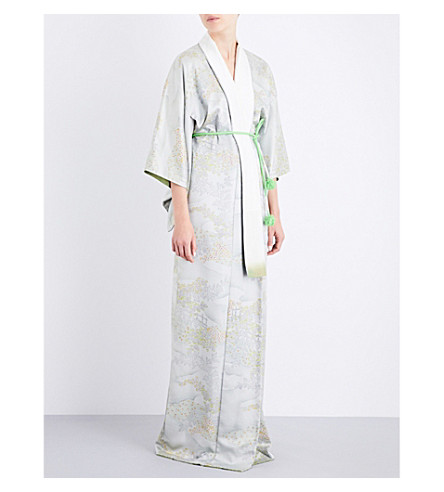 KISSHOTEN Valley of Flowers silk-jacquard kimono robe (The+valley+of+flowers