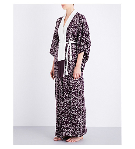 KISSHOTEN The Purple Crest silk-jacquard kimono robe (The+purple+crest