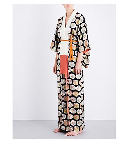 KISSHOTEN Floral Plates silk-jacquard kimono robe (Floral+plates