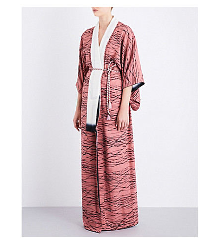 KISSHOTEN Liquid Rose silk-jacquard kimono robe (Liquid+rose