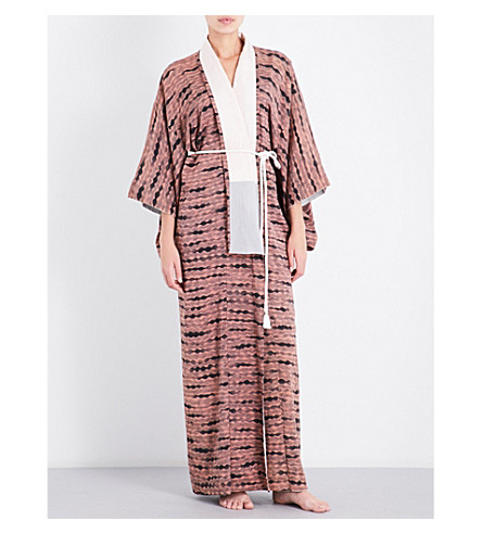 KISSHOTEN Striped silk-broaced kimono robe (Pink+ashe