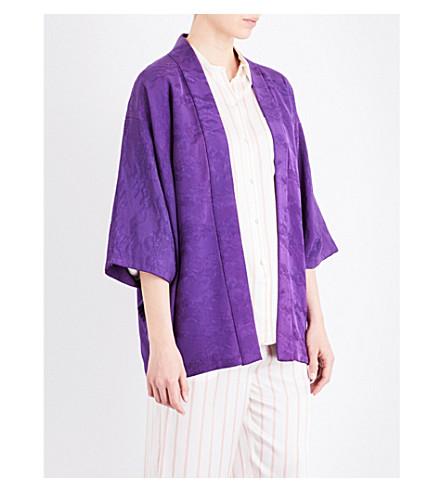 KISSHOTEN Floral silk kimono jacket (Purple+garden