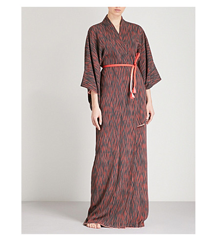 KISSHOTEN Squiggle-print silk robe (Squiggle