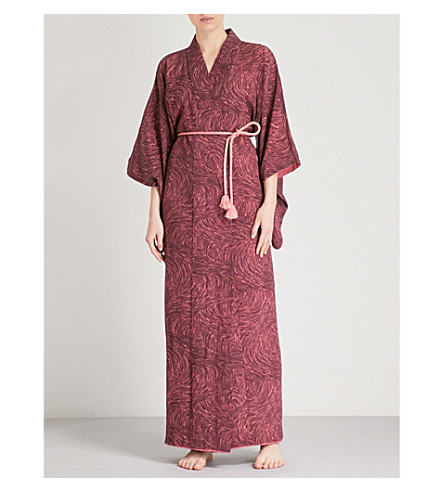 KISSHOTEN Pink fields-print silk kimono robe (Pink+fields