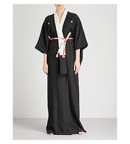 KISSHOTEN Cranes silk kimono robe (Black+cranes