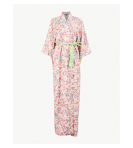 KISSHOTEN Hidden flowers-print silk kimono robe (Hidden+flowers