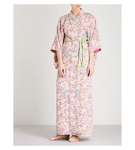 KISSHOTEN Hidden flowers-print silk kimono robe (Hidden+flowers