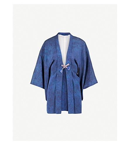 KISSHOTEN Black Leaves silk kimono (Black+leaves