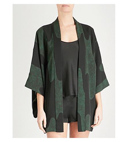 KISSHOTEN Green Hills silk kimono robe (Green+hills