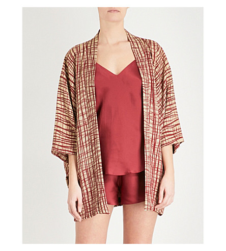 KISSHOTEN The Red Wire silk kimono robe (The+red+wire