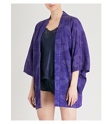 KISSHOTEN Silver Villages silk-jacquard kimono (Silver+villages
