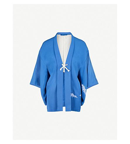 KISSHOTEN Blue Fields silk kimono (Blue+fields