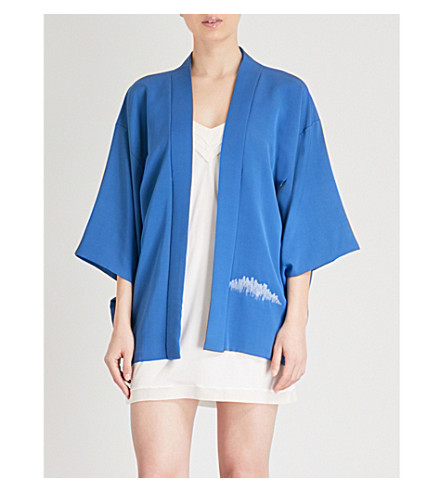 KISSHOTEN Blue Fields silk kimono (Blue+fields