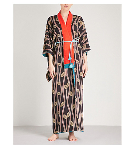 KISSHOTEN Tree of Life printed silk kimono robe (Tree+of+life