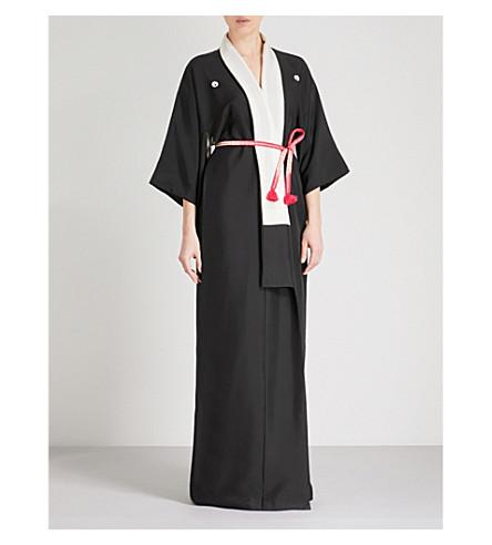 KISSHOTEN Black Beauty silk robe (Black+beauty