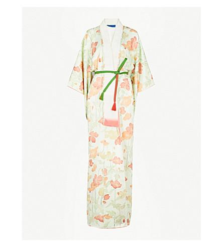 KISSHOTEN Orange Beauties silk-jacquard kimono robe (Orange+beauties