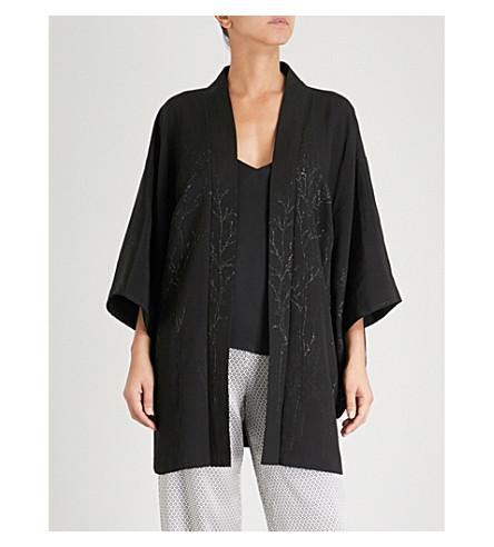 KISSHOTEN Silver Forest silk kimono robe (Silver+forest