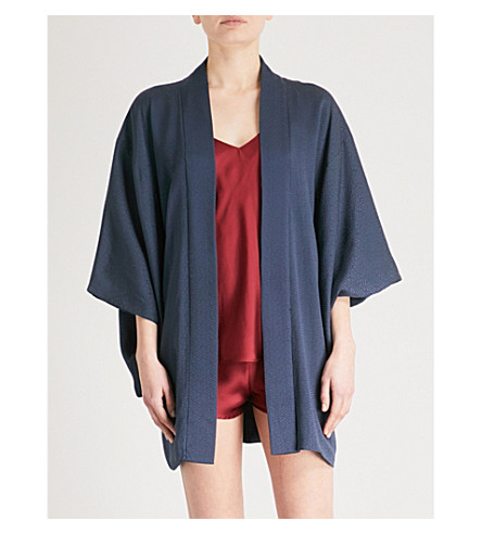 KISSHOTEN Haori silk-jacquard kimono robe (Blue+silk
