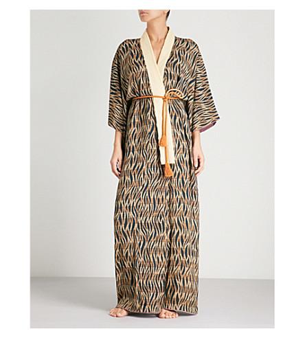 KISSHOTEN Tiger printed silk kimono robe (Tiger