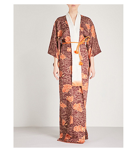 KISSHOTEN Hidden Fans silk-jacquard kimono robe (The+hidden+fans