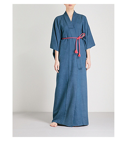KISSHOTEN Ocean Waves wave-jacquard silk kimono (Ocean+waves