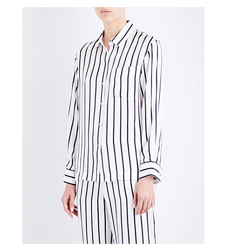 ASCENO Striped silk-satin pyjama top (Jet+black+stripe