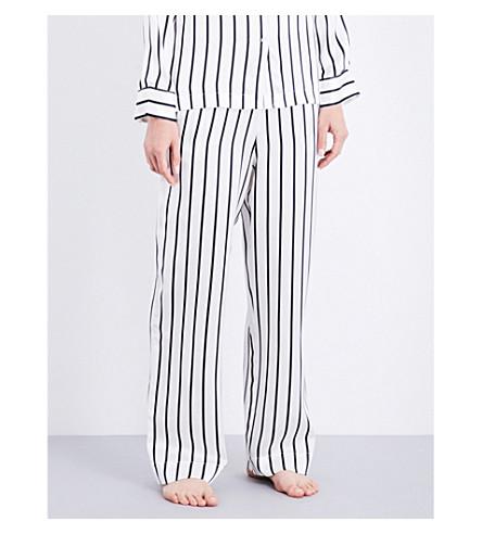ASCENO Striped silk-satin pyjama trousers (Jet+black+stripe