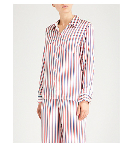 ASCENO Striped silk-satin pyjama top (Multi+twin+stripe