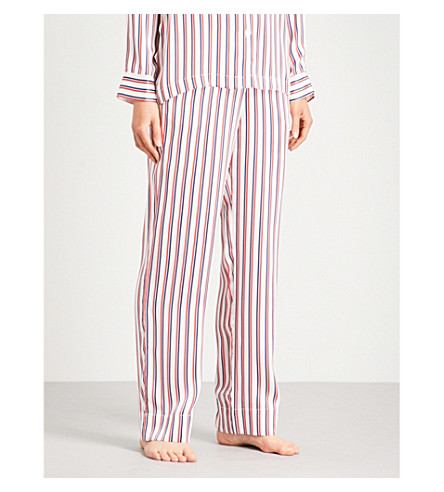 ASCENO Striped silk-satin pyjama bottoms (Multi+twin+stripe