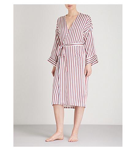 ASCENO Striped silk-satin robe (Multi+twin+stripe