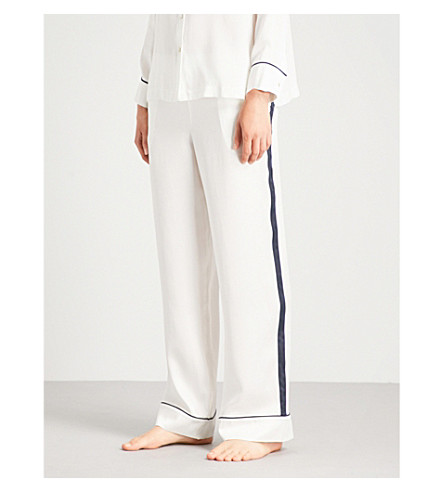 ASCENO Edged silk-satin pyjama bottoms (Navy+edged