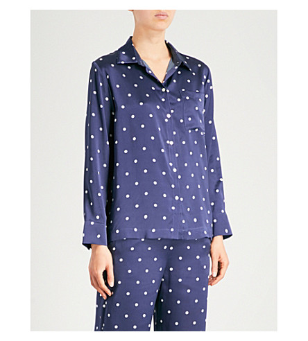ASCENO Polka dot silk-satin pyjama top (Navy+polka