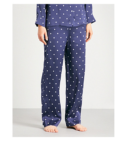 ASCENO Polka dot silk-satin pyjama bottoms (Navy+polka