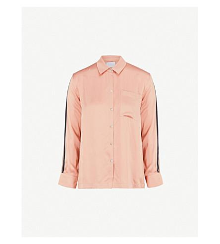 ASCENO Blush silk-satin shirt pyjama shirt (Blush+bold+stripe