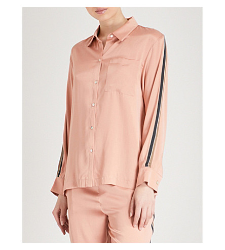 ASCENO Blush silk-satin shirt pyjama shirt (Blush+bold+stripe