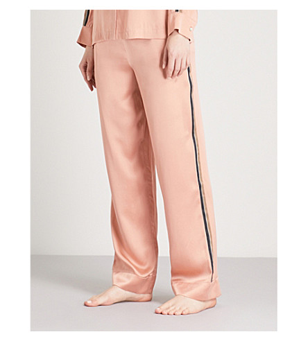 ASCENO Blush silk-satin pyjama bottoms (Blush+bold+stripe