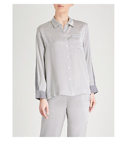 ASCENO Geometric-print silk-satin pyjama shirt (Monochrome+geo