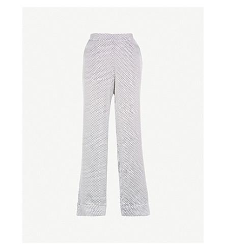 ASCENO Geometric-print silk-satin pyjama bottoms (Monochrome+geo
